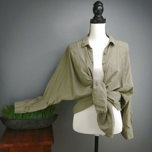 UO BDG | Army Green Linen Button Down Top